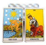 Tarot Birth Card Star / Strength. Optimistic and relaxed vs. Vigilant and concerned Flexible and soft vs. Insistent and strong Accepting vs. Demanding royalty free illustration