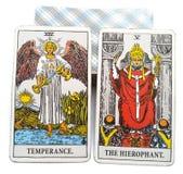 Tarot Birth Card Temperance / Hierophant. Free-thinking vs. Traditional Explosive effort vs. Steady progressb Warrior vs. Academic stock illustration