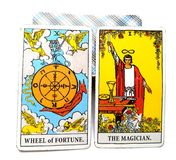 Tarot Birth Card Wheel of Fortune The Magician. Will/Destiny, Control/ Acceptance, Skill/Fortune royalty free illustration