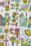 Tarot card background. A background using several differnt types of tarot cards Stock Images