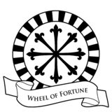 Tarot Card Concept. Wheel of Fortune and text banner isolated on white background royalty free illustration