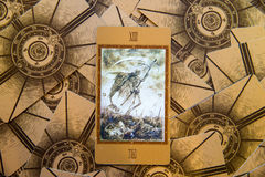Tarot card Death. Labirinth tarot deck. Esoteric background. Stock Photos