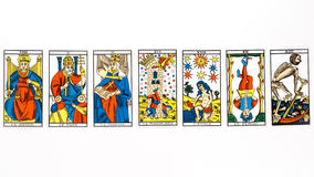 Tarot card draw. Isolated on white background Royalty Free Stock Images