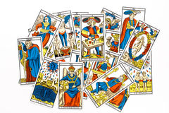 Tarot card draw. Isolated on white background Stock Images