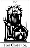 Tarot Card Emperor. Woodcut expressionist style image of the Tarot Card for the Emperor royalty free illustration