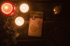 Tarot card. Future reading. Divination. Ace of pentacles inverted Tarot card. Fortune teller royalty free stock image