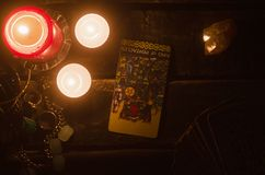 Tarot card. Future reading. Divination. King of pentacles inverted Tarot card. Fortune teller royalty free stock photo