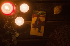 Tarot card. Future reading. Divination. Knight of pentacles inverted Tarot card. Fortune teller royalty free stock images
