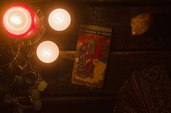 Tarot card. Future reading. Divination. Queen of pentacles inverted Tarot card. Fortune teller stock photo