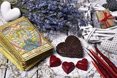 Tarot Card Lovers, Chocolate Candies, Heart And Love Symbols, Lavender Flowers, Candles Royalty Free Stock Images
