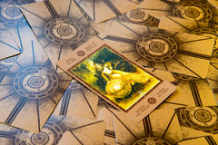 Tarot card Qeen of Pentacles. Labirinth tarot deck. Esoteric background. Moscow, Russia - January 29, 2017: Tarot card Qeen of Pentacles. Labirinth tarot deck Stock Image