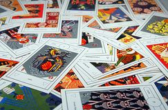 Tarot cards. Pack of tarot cards spread unevenly royalty free stock photography