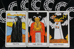 Tarot cards. A group of Taro cards that are not good Royalty Free Stock Images