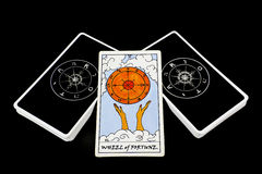 Tarot cards. Wheel of fortune is good luck for prosperity royalty free stock photos