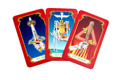 Tarot cards. Three tarot cards isolated on white background Stock Photos