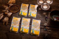 Tarot cards amd other accessories Royalty Free Stock Photo