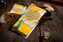 Tarot cards amd other accessories stock images