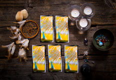 Tarot cards amd other accessories Stock Photography