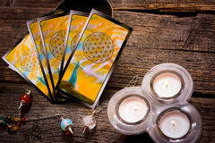Tarot cards amd other accessories Stock Image