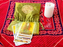Tarot cards and burning candle Royalty Free Stock Image