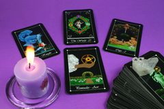 Tarot Cards and Candle Stock Images