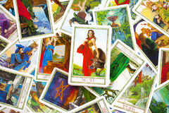 Tarot Cards. Central Card in Focus - rest out of focus stock images