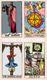 Tarot cards deck colorful illustration with magic and mystic graphic details. Cards deck Tarot colorful illustration with magic and mystic graphic details vector illustration