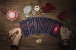 Tarot cards deck. Future reading. Fortune teller. The psychic. Tarot cards and future reading concept. Fortune teller desk table Stock Photography