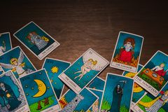 Tarot cards distributed randomly on top of each other stock photography
