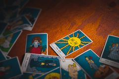 Tarot cards distributed randomly on top of each other royalty free stock photos