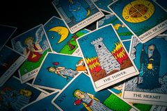 Tarot cards distributed randomly on top of each other royalty free stock photography