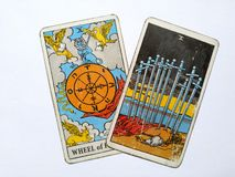 Tarot Cards Divination Occult Magic. Tarot Cards for divination purposes, magic and occult and soul guidance stock images
