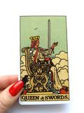 Queen of Swords Tarot Card Honesty Truth Principles Standards Clinical Sterile Reserved Detached Aloof Cool Private Sever. Queen of Swords Tarot Card royalty free stock photography