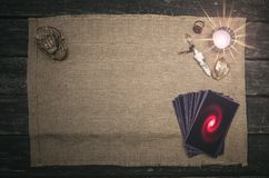 Tarot cards. Tarot cards on fortune teller desk table background. Futune reading concept. Divination royalty free stock photos