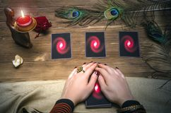 Tarot cards. Fortune teller. Divination. Tarot cards and fortune teller. Future reading concept Stock Image
