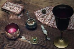 Tarot cards. Fortune teller. Divination. Tarot cards on fortune teller table. Divination. Witchcraft Stock Photos