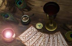 Tarot cards. Fortune teller. Divination. Tarot cards on fortune teller table. Divination. Witchcraft Royalty Free Stock Photos