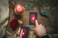 Tarot cards. Fortune teller. Divination. Tarot cards and fortune teller. Future reading concept Stock Photos