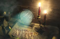 Tarot cards. Tarot cards on fortune teller table. Call spirits royalty free stock photography