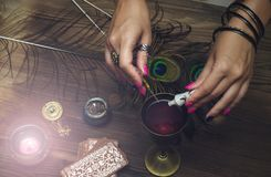 Magic potion. Witchcraft. Magic qure. Shaman. Tarot cards on fortune teller table. Divination. Witchcraft. Witch prepares a magic potion Royalty Free Stock Photos