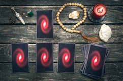 Tarot cards. Future reading concept. Divination. Tarot cards on fortune teller table. Future reading. Divination concept Stock Photography