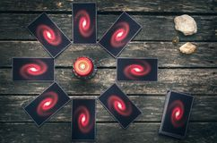 Tarot cards. Future reading concept. Divination. Tarot cards on fortune teller table. Future reading. Divination concept Royalty Free Stock Photo