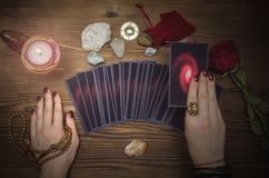 Tarot cards deck. Future reading. Fortune teller. The psychic. Tarot cards and future reading concept. Fortune teller desk table Stock Photos