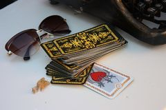 Tarot cards glasses landscape. Love the still life royalty free stock photo