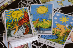 The Tarot Cards - The Good Meaning Cards Is The Sun, The Moon and The Star. Stock Photo