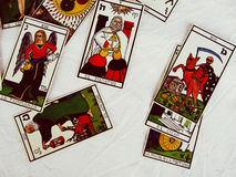 Tarot Cards Group View and White background Royalty Free Stock Images