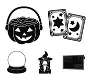 Tarot cards, holiday halloween, magician in a hat, crystal ball. Black and white magic set collection icons in black. Tarot cards, holiday halloween, magician in Royalty Free Stock Images