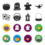 Tarot cards, holiday halloween, magician in a hat, crystal ball. Black and white magic set collection icons in black. Flet style vector symbol stock Stock Photo