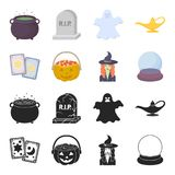 Tarot cards, holiday halloween, magician in a hat, crystal ball. Black and white magic set collection icons in black. Cartoon style vector symbol stock Stock Photo