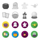 Tarot cards, holiday halloween, magician in a hat, crystal ball. Black and white magic set collection icons in. Monochrome,flat style vector symbol stock Royalty Free Stock Photography